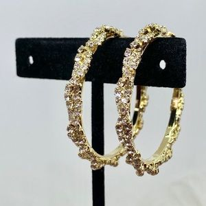Gold Hoop Twisted White Sapphire Earrings